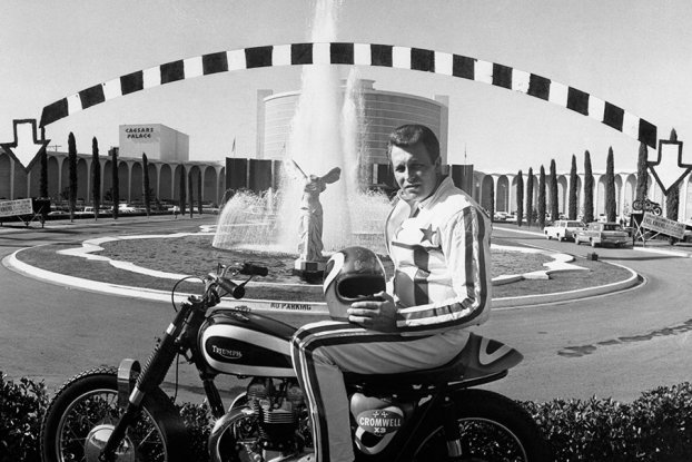 Evel Knievel shown prior to his jump over the fountain at Caesar's Palace in Las Vegas on December 31, 1967.
