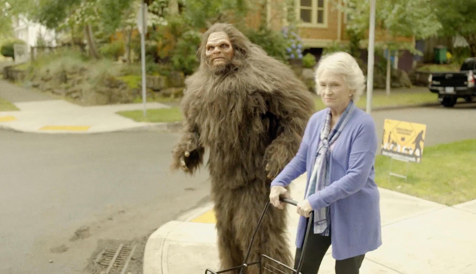 Bigfoot Crossing the Street