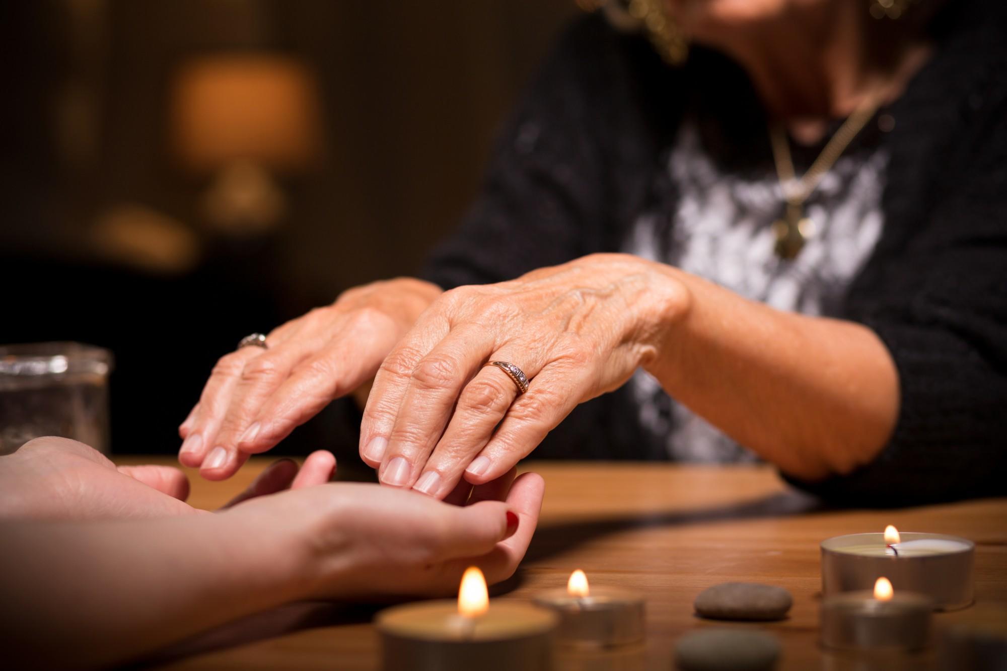 Close-up of spiritualistic seance