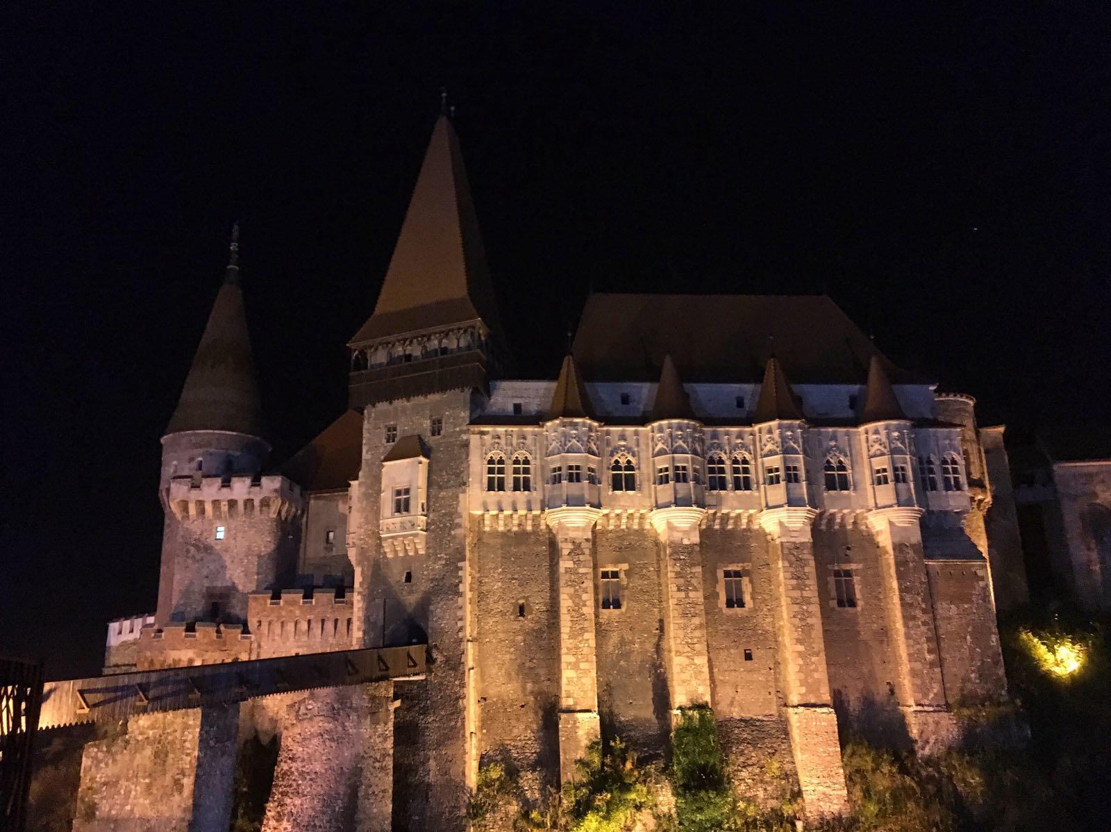 Corvin Castle in Transylvania at Night