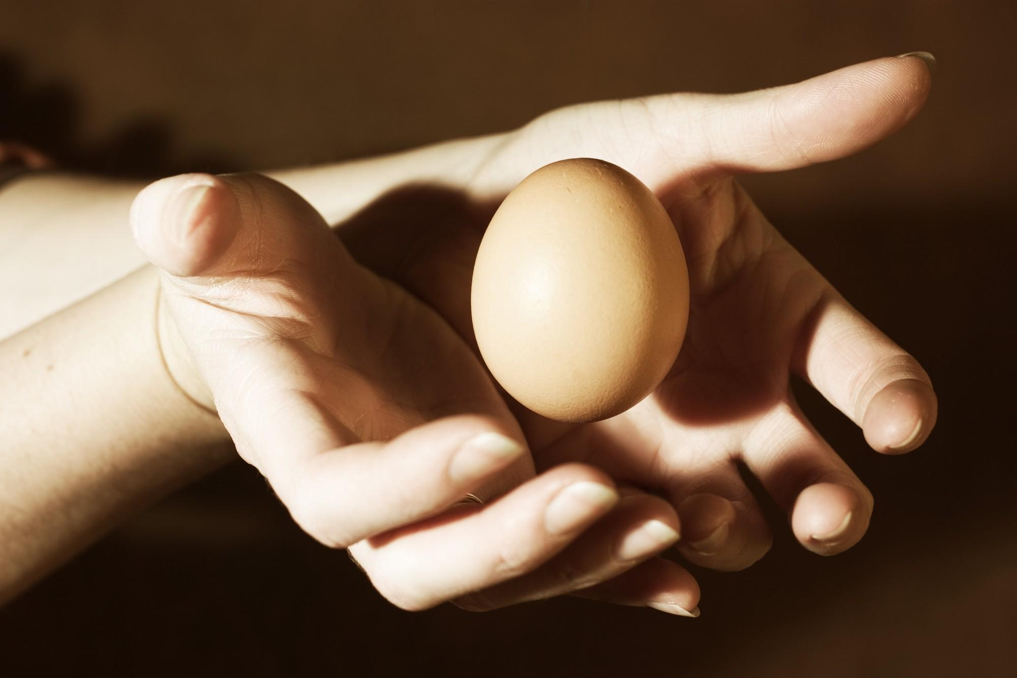 Woman's hands 'holding' an egg.