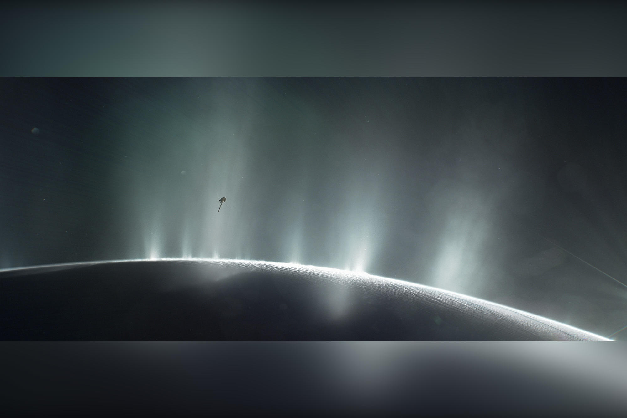 An artist's rendering shows Cassini diving through the Enceladus plume in 2015.