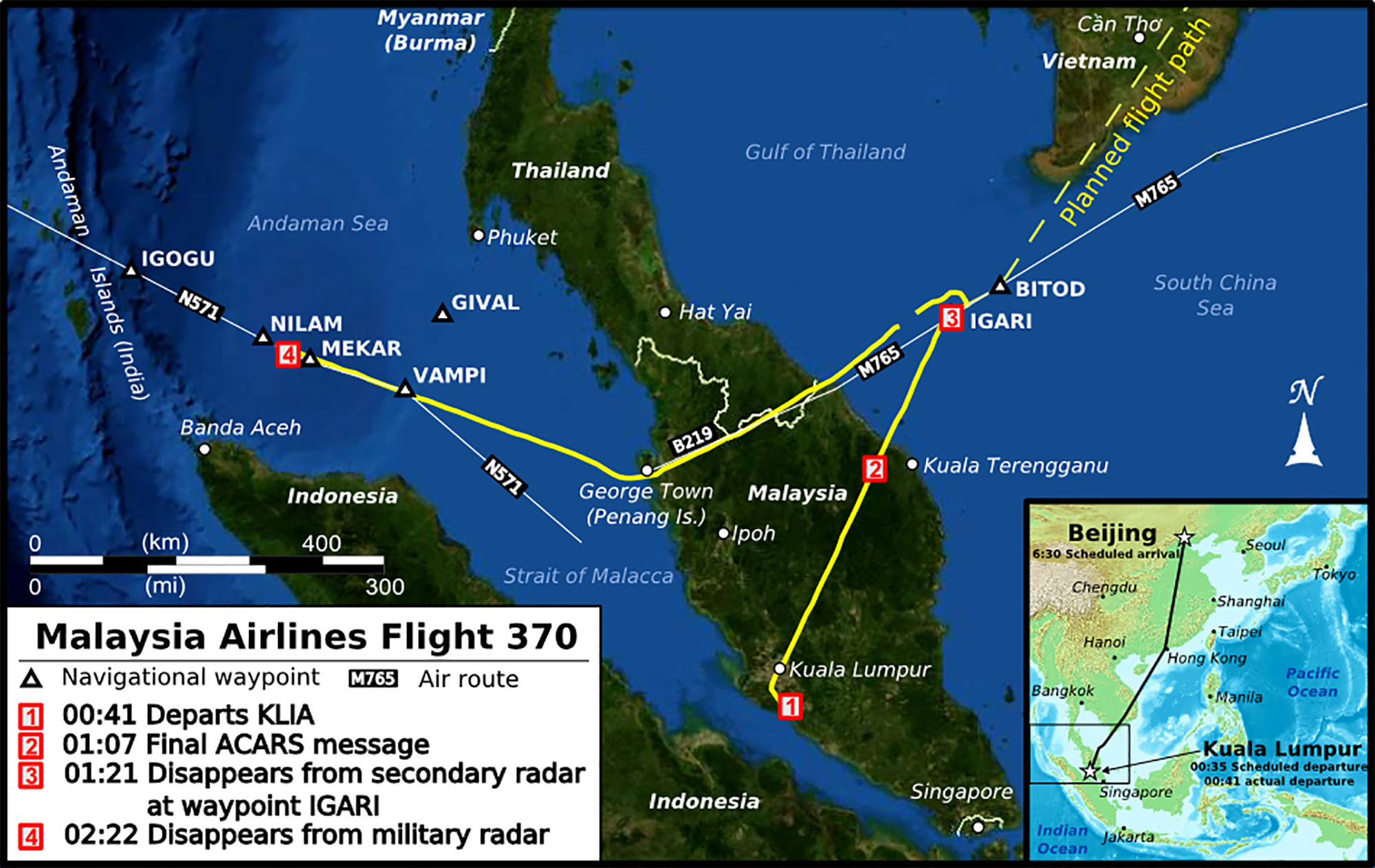 Malaysia Airlines Flight MH370 flight path