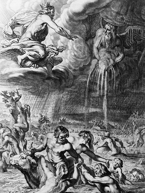 "In this illustration from a 1665 edition of Ovid's ""Metamorphoses,"" men flee from a deadly downpour unleashed upon them by the command of the ancient god Jupiter (Zeus, to the Greeks)."