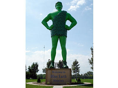 Minnesota is the home of the Jolly Green Giant, and if you happen to be driving through Blue Earth, you'll have the pleasure of encountering the giant himself. Standing at around 55 feet (17 meters) tall, the smiling statue may convince even the pickiest eaters that vegetables can help you grow big and strong.