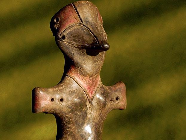 This odd, wide-eyed, cross-shaped figurine was unearthed from an ancient Vinca site in what is now the country of Serbia. It is housed in the Serbian National Museum in Belgrade.  And we wonder why some people think alien life forms made contact with our distant forebears.