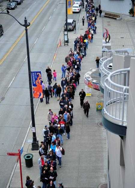 Deadliest Catch fans line the street waiting to enter the 2010 CatchCon event at the Bell Harbor venue in Seattle.