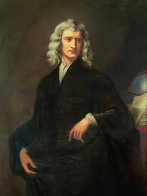 Many people consider English physicist and mathematician Sir Isaac Newton (1642-1727) one of the greatest minds of all time. Most famous from his law of gravitation and laws of motion, Newton also invented calculus, without which the field of physics wouldn't exist. Newton was also interested in the field of optics and discovered that white light could be split into all the colors of the rainbow by a prism. The SI unit of force is named after him. This portrait of Newton was painted in January 1754, years after his death.