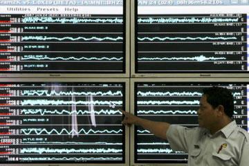 This representative of the Meteorology and Geophysics Agency shows a seismograph image of a 6.5-magnitude earthquake in Indonesia in 2007. The earthquake was followed by several aftershocks, but luckily, it caused only minimal damage.