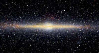 A side view of the Milky Way galaxy. Next, you can see a radio map of the Milky Way.