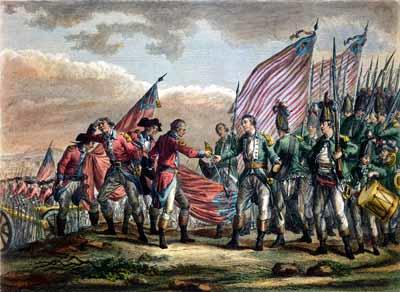 British General John Burgoyne surrenders at the Battle of Saratoga in October 1777. He attempted to infiltrate the American colonies by entering from Canada. Just 12 years after this scene, the French Revolution began, having been influenced in part by the American struggle.