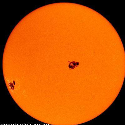 These sunspot clusters produced a coronal mass ejection, or solar blast, that hit the Earth in 2003. Sunspots have been known to affect the Earth. Check out one that interfered with Earth communications on the next page.