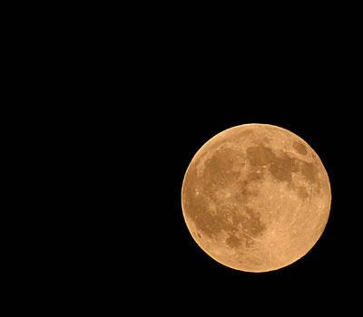 A harvest moon takes on an orangish glow in the autumn sky. Check out an image of a full moon on the next page.