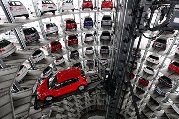 The assembly line isn't the only part of the automotive world that's home to robots. This tower at a Volkswagen plant in Wolfsburg, Germany, holds 400 cars. When someone buys a car, a robotic arm picks it from the tower and delivers it through an underground transport system.
