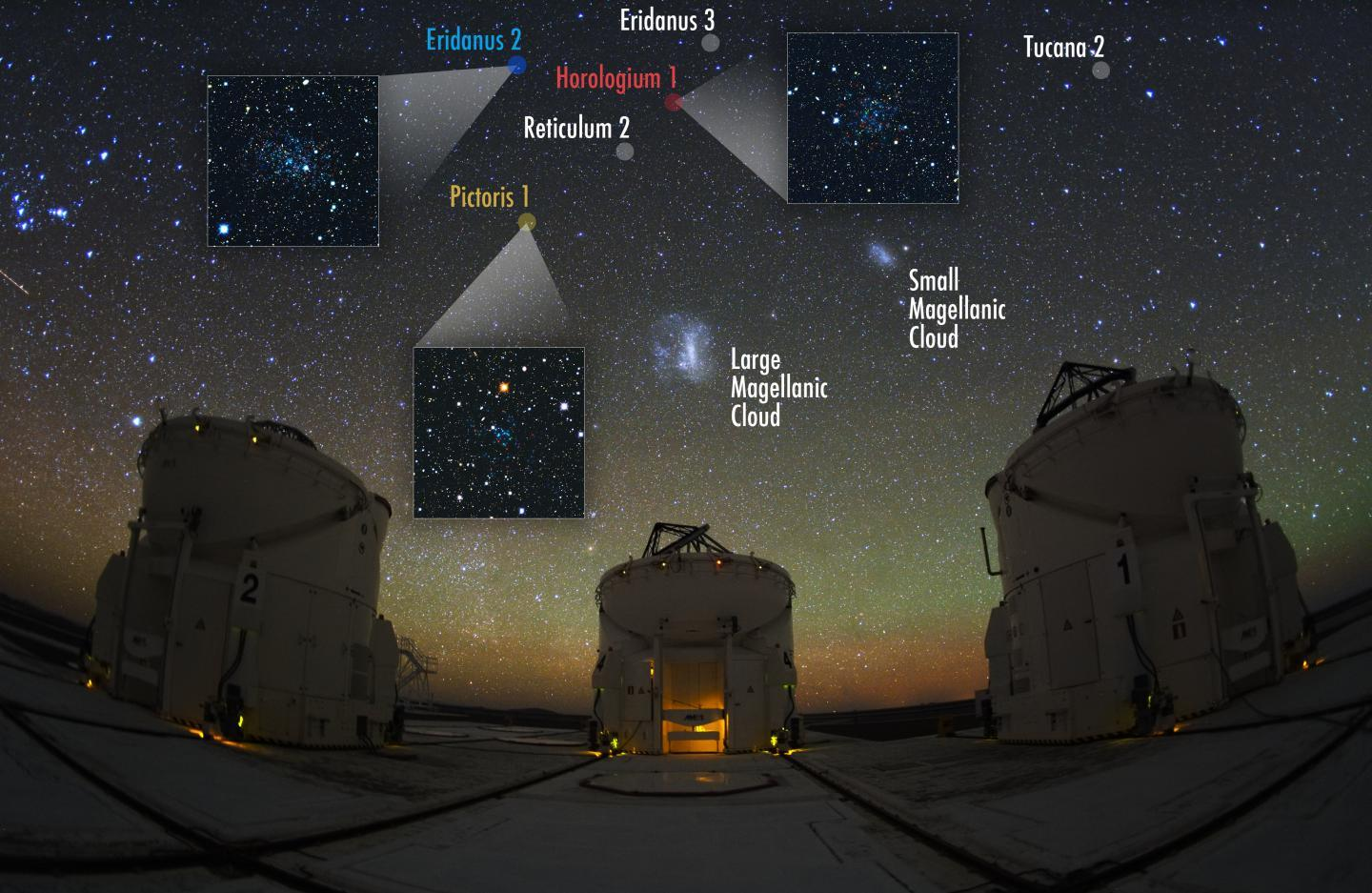 Night Sky, The Auxiliary Telescopes and The Magellanic Family (IMAGE)