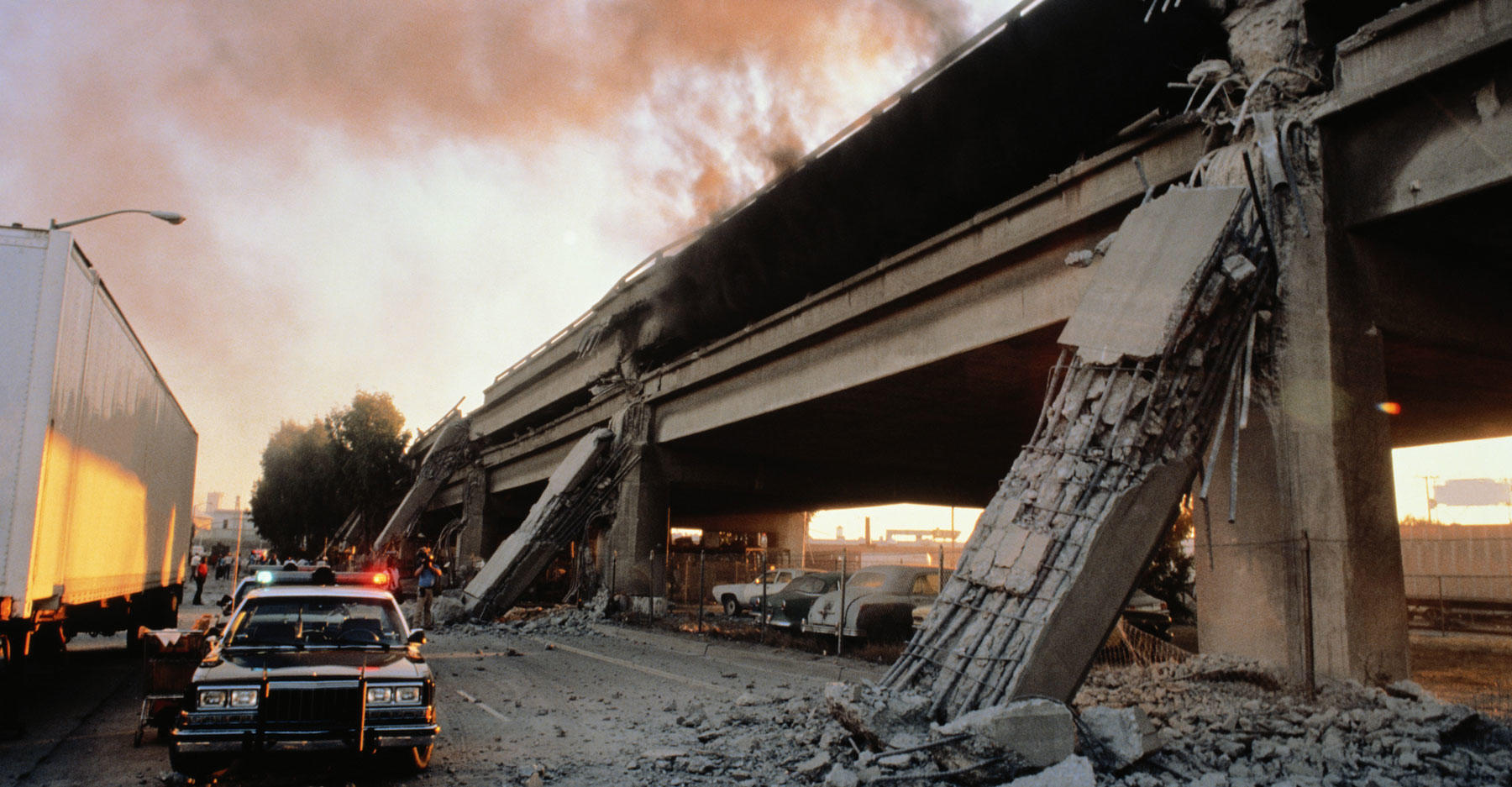 Earthquake aftermath, overpass of highway.