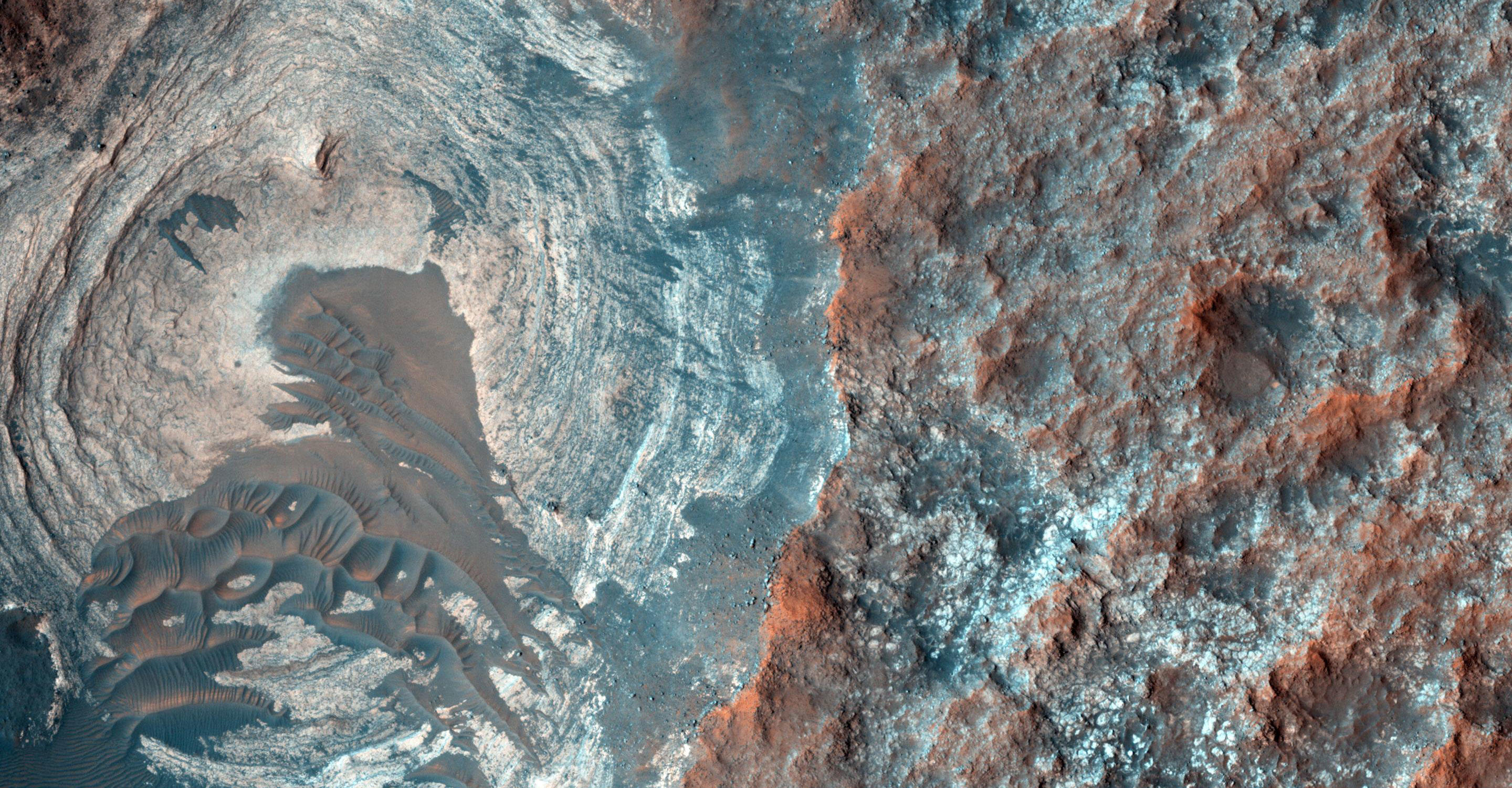 Layers and Dark Dunes on the Surface of Mars
