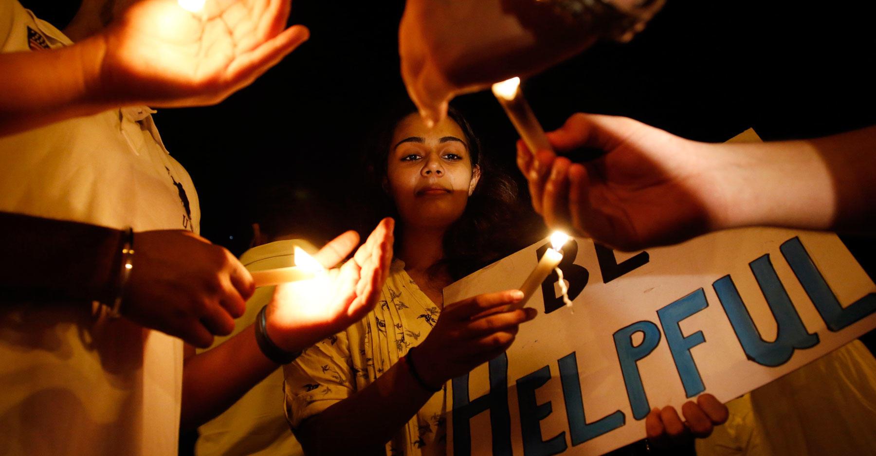 Nepal candlelight vigil (AP)