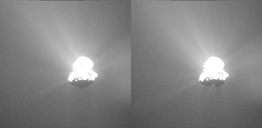 A new jet of dust appears on the underside of the Comet 67P.