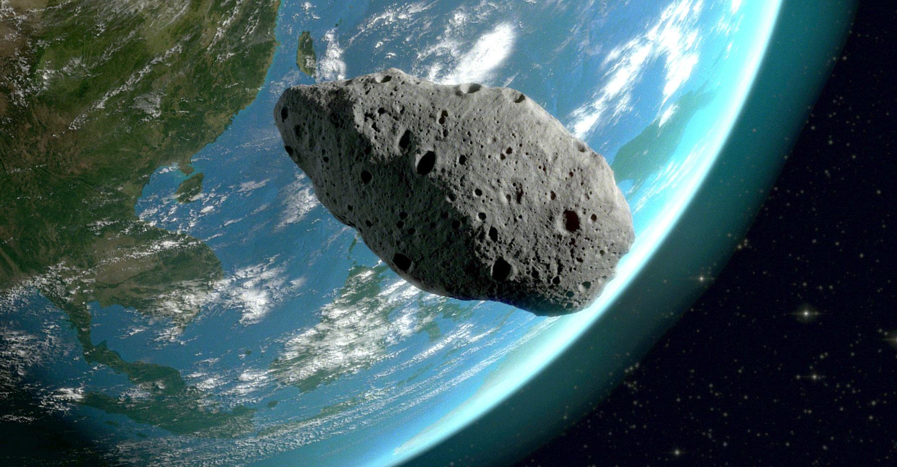 An asteroid near the Earth.