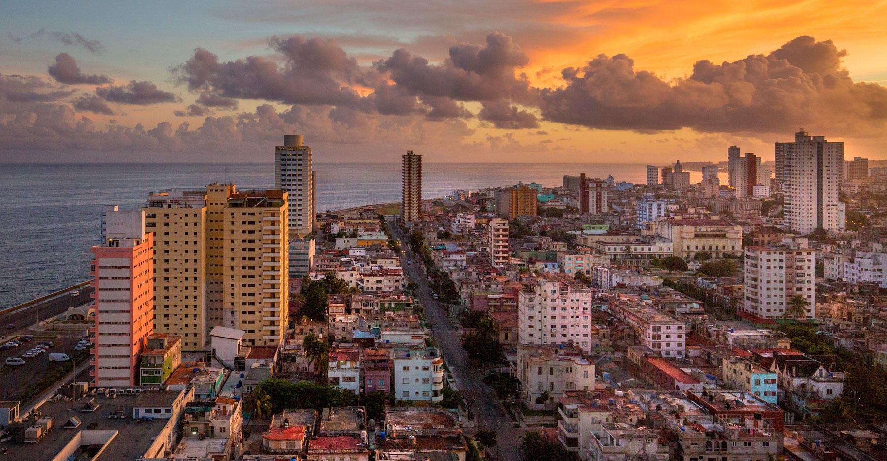 The Havana, Cuba skyline at dusk.