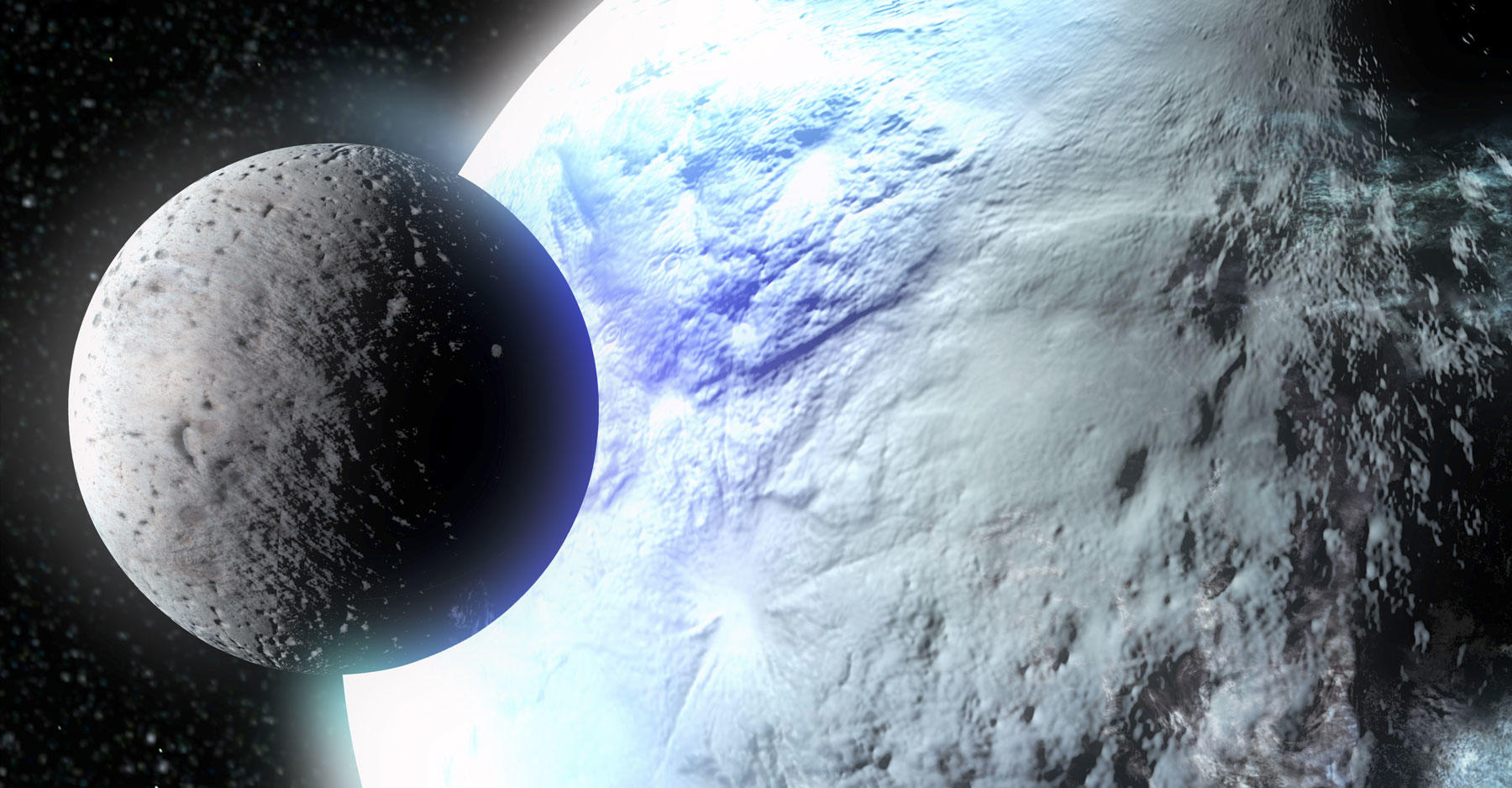 Artist impression of Pluto and an orbiting body