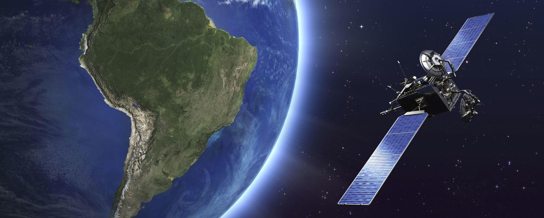 Telecommunication satellite orbiting Earth.