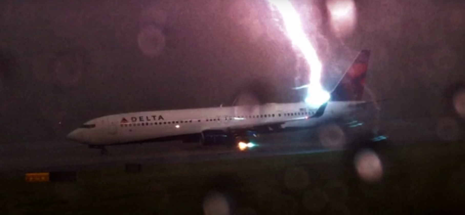 Airliner struck by lightning