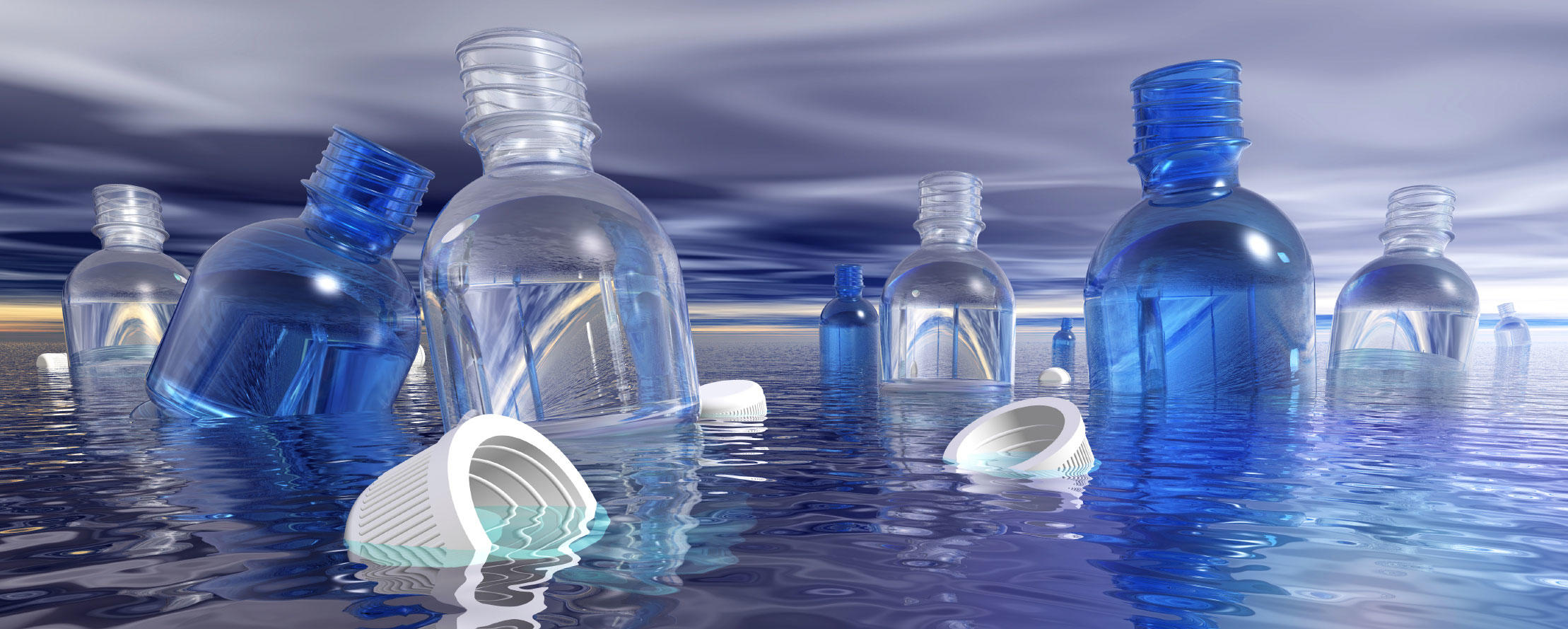 Group of plastic bottles in water