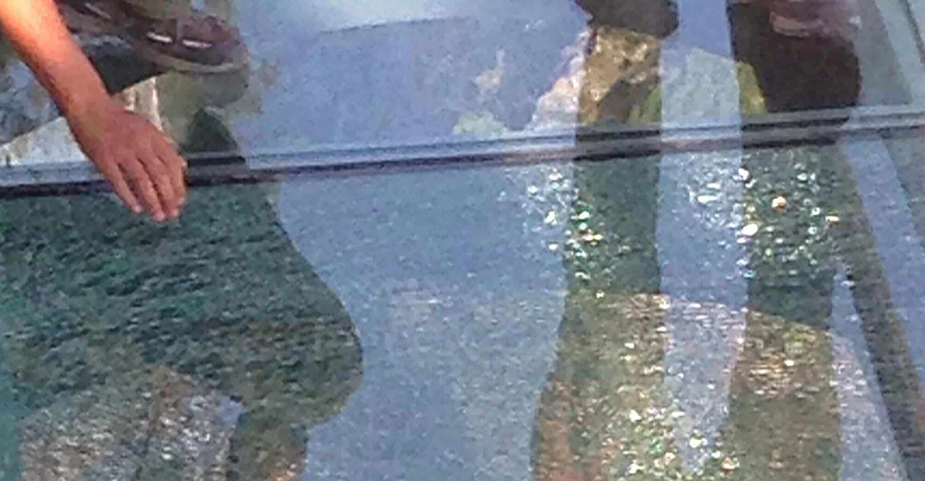 Shattered glass bridge in China