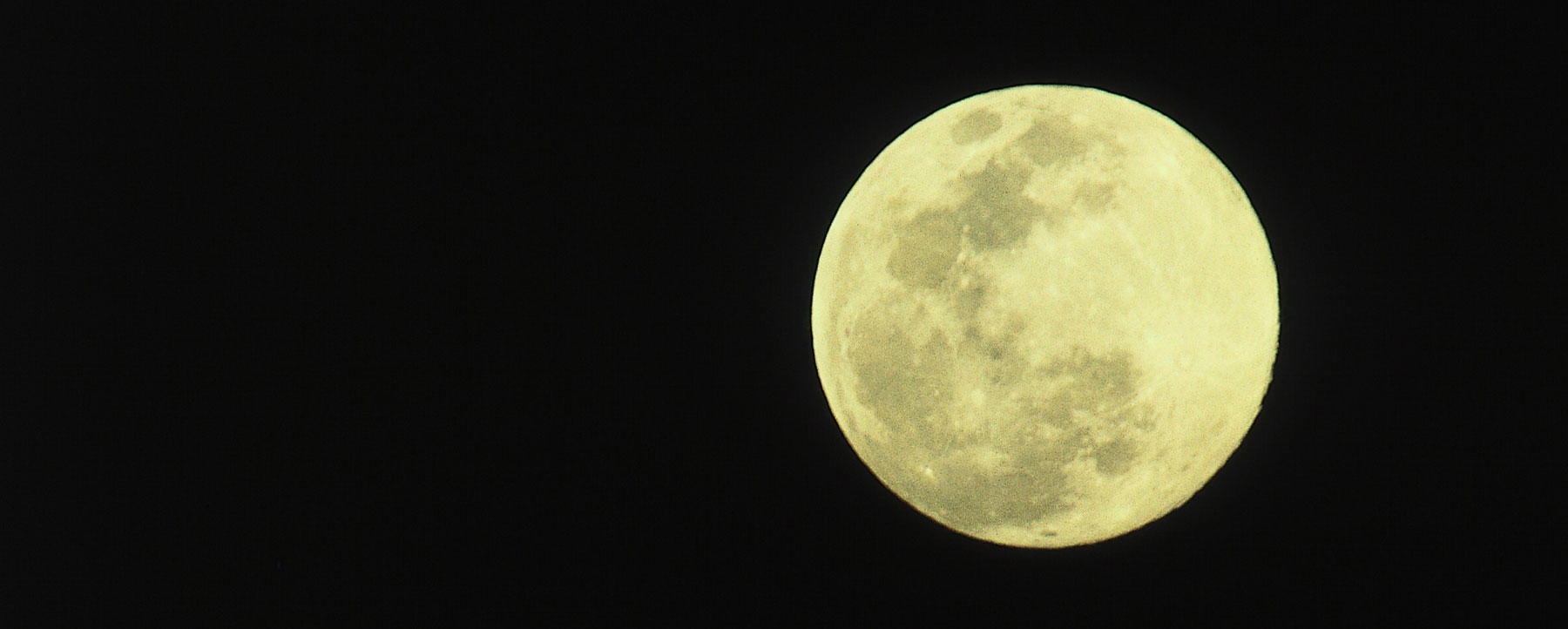 View of full moon against a black sky.