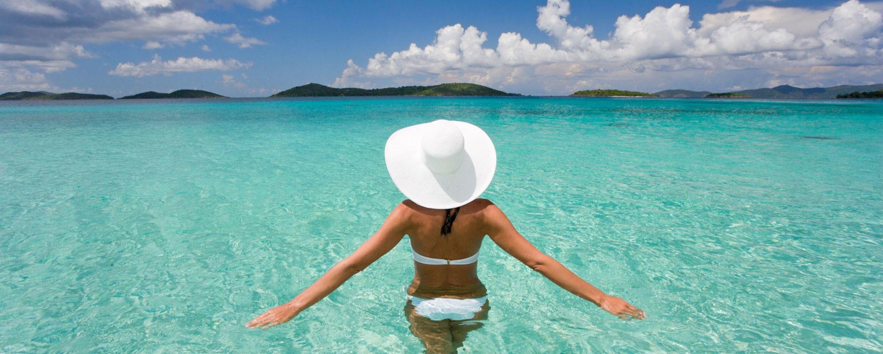 Woman swimming in bikini