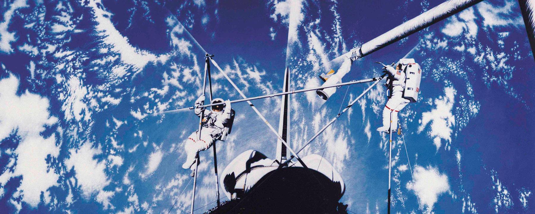 Astronauts assembling a station.