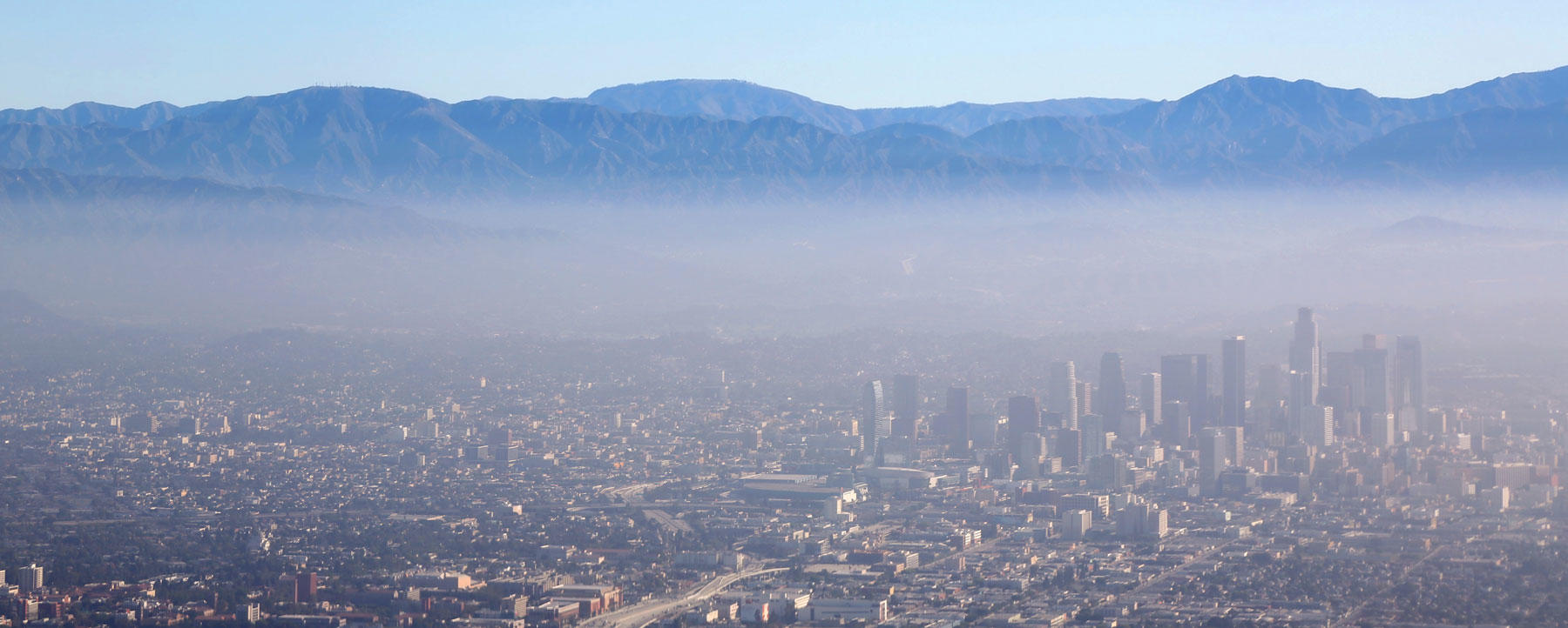 Los Angeles Downtown Aerial View and smog