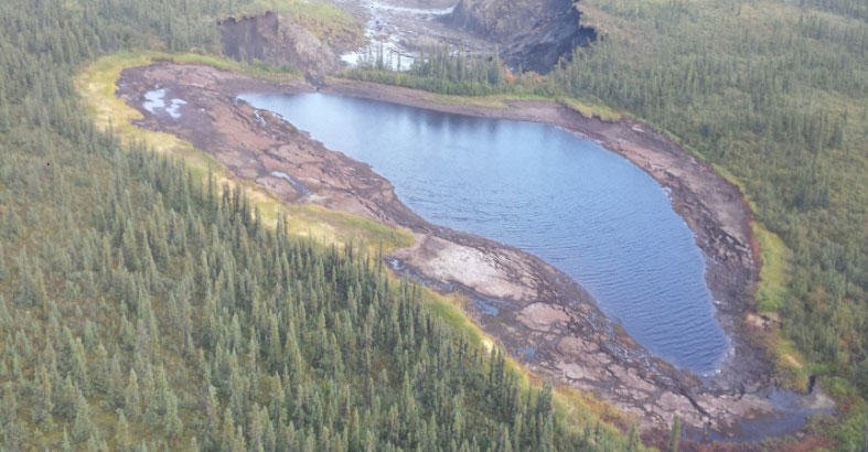 Peel Plateau Lake after the drainage event. Northwest Territories Geological Survey