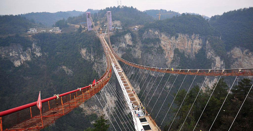 Glass Suspension Bridge Under Construction In Zhangjiajie