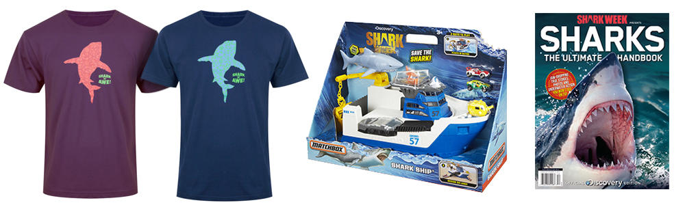 official shark week shirts, shark week board game, shark week handbook