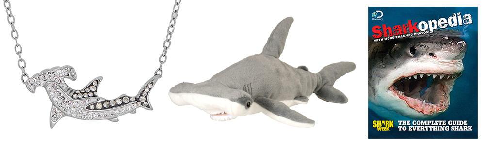 shark week necklace, shark week pillow, shark week guide book