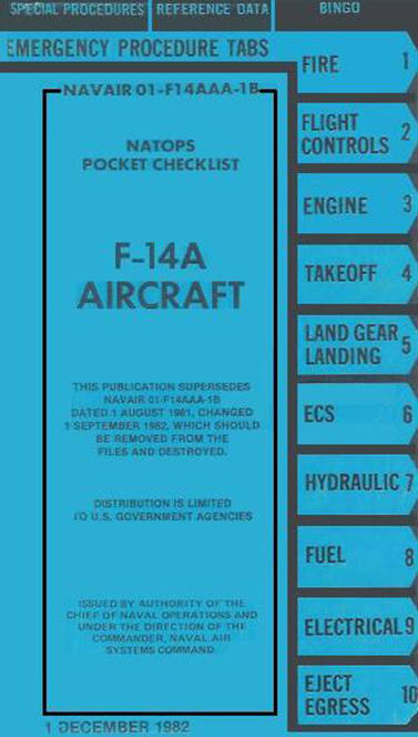 The NATOPS checklist for the F-14