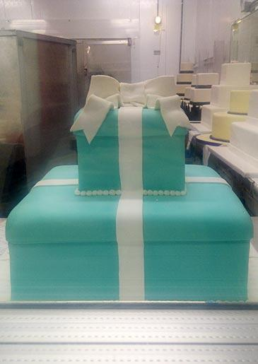 A Tiffany-blue cake with white bow, seen at Lackawanna.