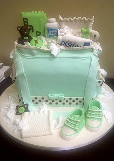 A diaper bag cake with baby essentials, seen at Lackawanna.