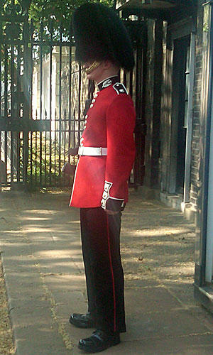Our first peek at a British guard.