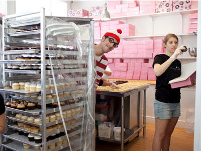 This is where the cupcake magic happens! Waldo's lurking behind trays of the fresh cupcakes that made Georgetown Cupcake famous.