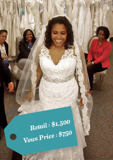 "Velvet described her dress budget as a number ""as close to the zero as we can get!"" When she saw this Allure Bridals lace gown, she knew she'd found the right dress!"