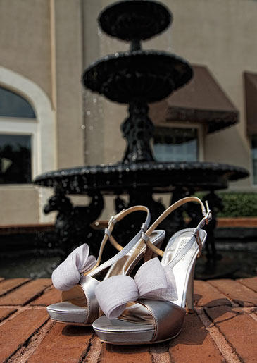 Miranda wore these lavender Badgley Mischka shoes beneath her wedding gown.