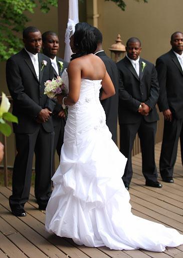 Miranda and her groom exchange vows.