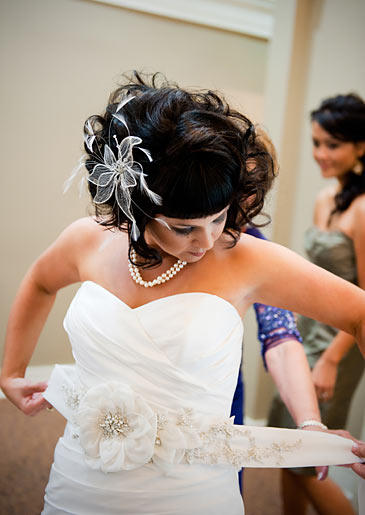 Tracy King Howe dresses for her wedding day.