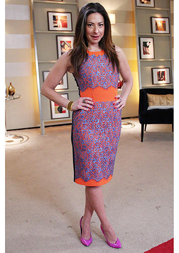 Mix and match bright summer colors, like Stacy's orange and purple dress with hot pink heels!