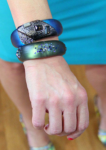 These unique cuffs are the perfect look for summer, adding pops of blue and green to any summer style.