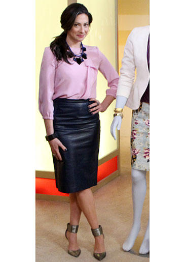 Pink Blouse and Navy Leather Skirt from